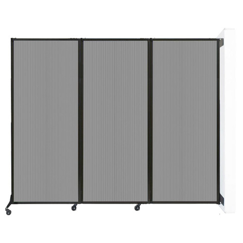 """Wall-Mounted QuickWall Folding Partition 8'4"""" x 6'8"""" Light Gray Polycarbonate"""