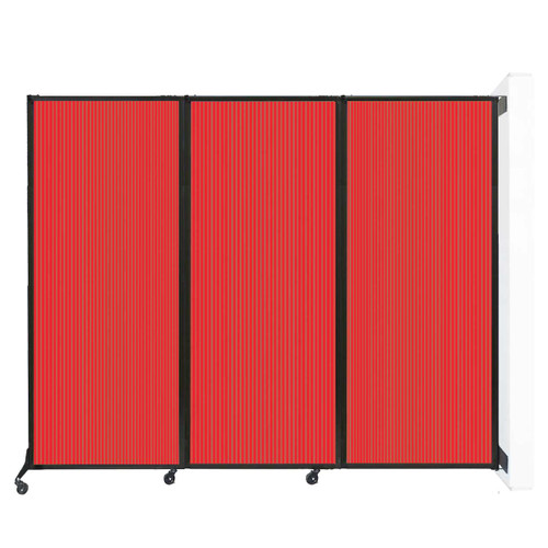"Wall-Mounted QuickWall Folding Partition 8'4"" x 6'8"" Red Polycarbonate"