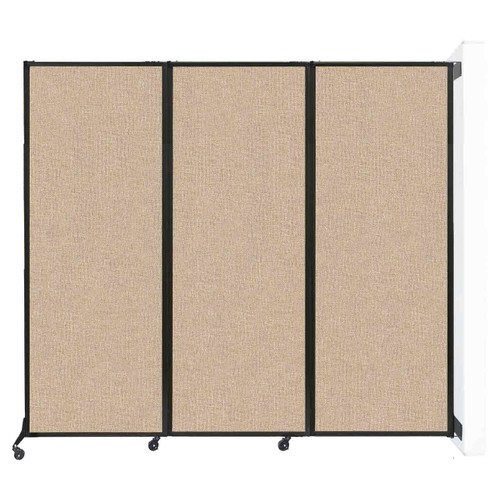 "Wall-Mounted QuickWall Folding Partition 8'4"" x 7'4"" Beige Fabric"