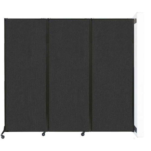 """Wall-Mounted QuickWall Folding Partition 8'4"""" x 7'4"""" Black Fabric"""