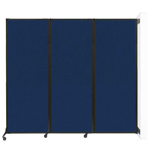 """Wall-Mounted QuickWall Folding Partition 8'4"""" x 7'4"""" Navy Blue Fabric"""