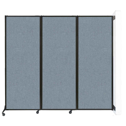 """Wall-Mounted QuickWall Folding Partition 8'4"""" x 7'4"""" Powder Blue Fabric"""