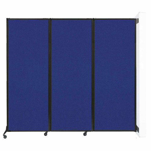 """Wall-Mounted QuickWall Folding Partition 8'4"""" x 7'4"""" Royal Blue Fabric"""