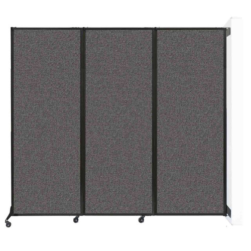 """Wall-Mounted QuickWall Folding Partition 8'4"""" x 7'4"""" Charcoal Gray Fabric"""