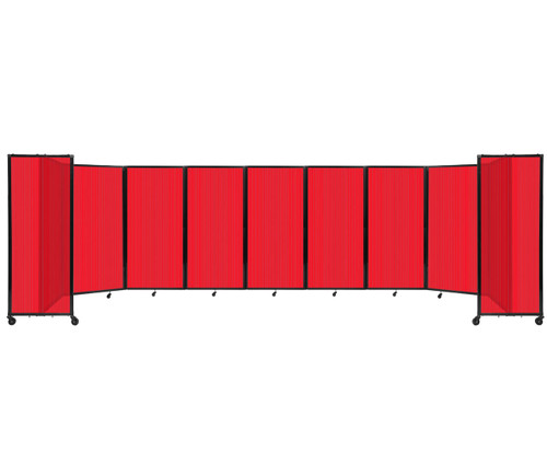 Room Divider 360 Folding Portable Partition 25' x 6' Red Fluted Polycarbonate