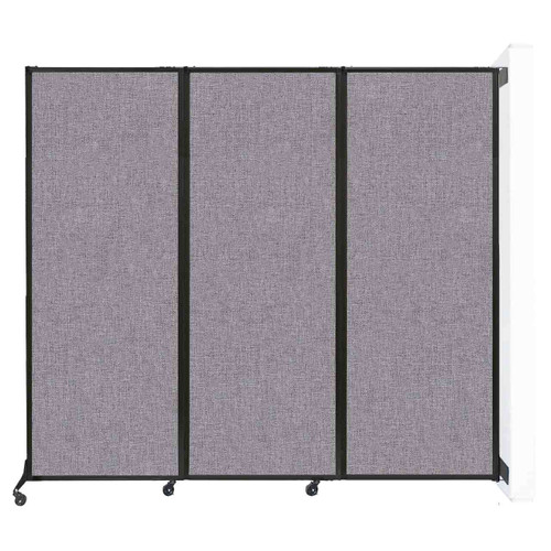 """Wall-Mounted QuickWall Folding Partition 8'4"""" x 7'4"""" Cloud Gray Fabric"""