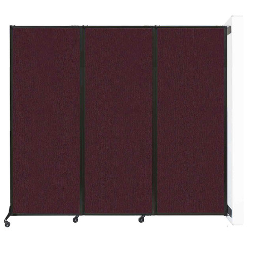 """Wall-Mounted QuickWall Folding Partition 8'4"""" x 7'4"""" Cranberry Fabric"""