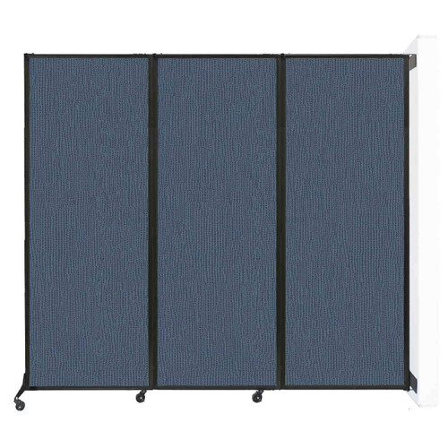 """Wall-Mounted QuickWall Folding Partition 8'4"""" x 7'4"""" Ocean Fabric"""
