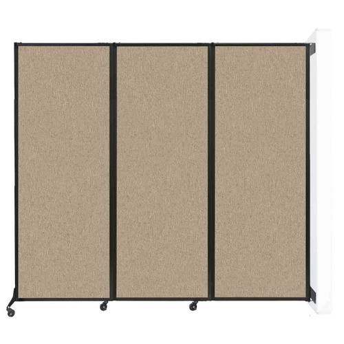 """Wall-Mounted QuickWall Folding Partition 8'4"""" x 7'4"""" Rye Fabric"""