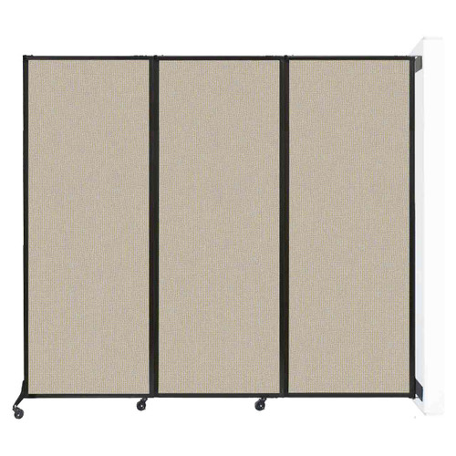 "Wall-Mounted QuickWall Folding Partition 8'4"" x 7'4"" Sand Fabric"
