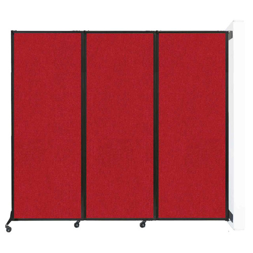 "Wall-Mounted QuickWall Folding Partition 8'4"" x 7'4"" Red Fabric"