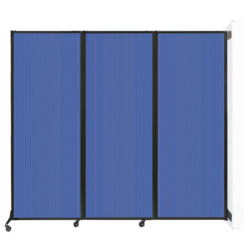 """Wall-Mounted QuickWall Folding Partition 8'4"""" x 7'4"""" Blue Polycarbonate"""