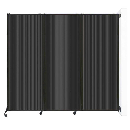 """Wall-Mounted QuickWall Folding Partition 8'4"""" x 7'4"""" Dark Gray Polycarbonate"""