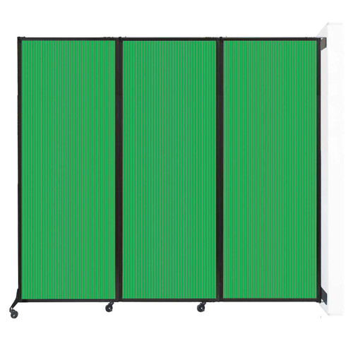 """Wall-Mounted QuickWall Folding Partition 8'4"""" x 7'4"""" Green Polycarbonate"""