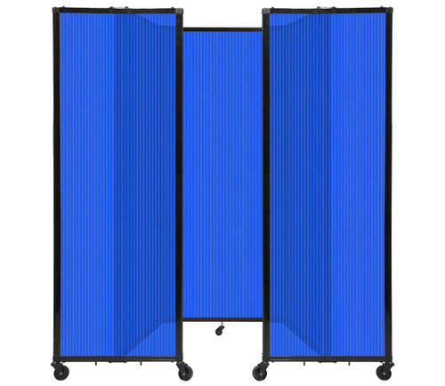 "Room Divider 360 Folding Portable Partition 8'6"" x 6'10"" Blue Fluted Polycarbonate"
