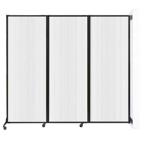 "Wall-Mounted QuickWall Folding Partition 8'4"" x 7'4"" Opal Polycarbonate"