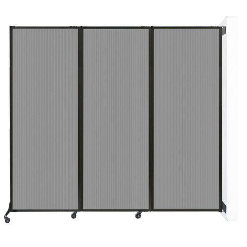 """Wall-Mounted QuickWall Folding Partition 8'4"""" x 7'4"""" Light Gray Polycarbonate"""