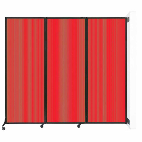 """Wall-Mounted QuickWall Folding Partition 8'4"""" x 7'4"""" Red Polycarbonate"""