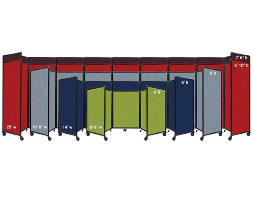 The Room Divider 360 comes in 5 heights and 4 widths.