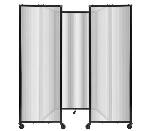 """Room Divider 360 Folding Portable Partition 8'6"""" x 6'10"""" Clear Fluted Polycarbonate"""