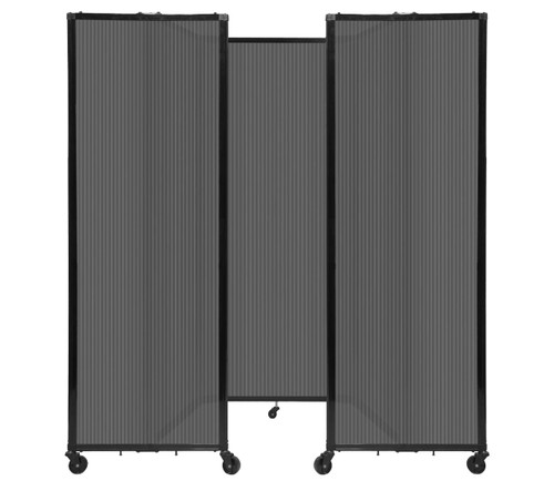 """Room Divider 360 Folding Portable Partition 8'6"""" x 6'10"""" Dark Gray Fluted Polycarbonate"""