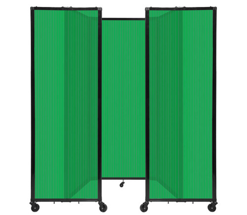 """Room Divider 360 Folding Portable Partition 8'6"""" x 6'10"""" Green Fluted Polycarbonate"""