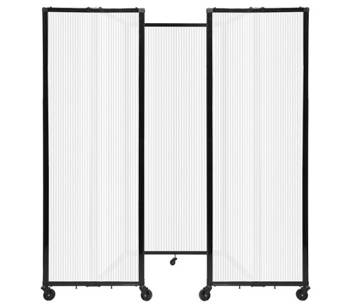 """Room Divider 360 Folding Portable Partition 8'6"""" x 6'10"""" Opal Fluted Polycarbonate"""