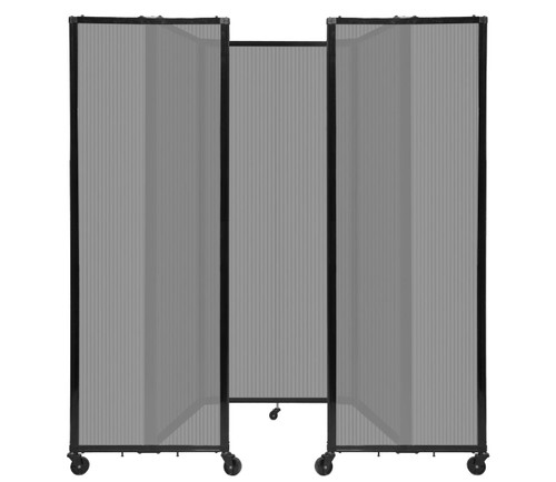 """Room Divider 360 Folding Portable Partition 8'6"""" x 6'10"""" Light Gray Fluted Polycarbonate"""