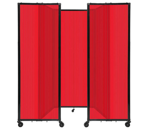 """Room Divider 360 Folding Portable Partition 8'6"""" x 6'10"""" Red Fluted Polycarbonate"""