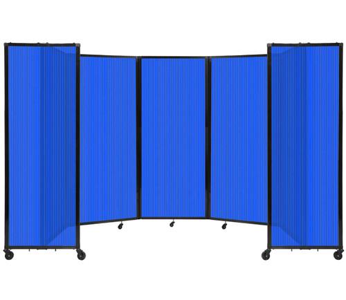 "Room Divider 360 Folding Portable Partition 14' x 6'10"" Blue Fluted Polycarbonate"