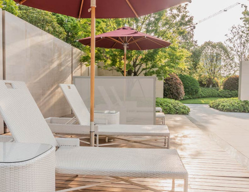 Use the Single Panel Outdoor Privacy Screen Brown on the patio to get some privacy!