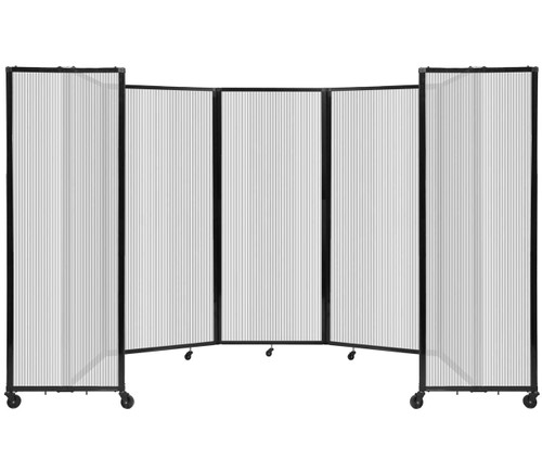"""Room Divider 360 Folding Portable Partition 14' x 6'10"""" Clear Fluted Polycarbonate"""