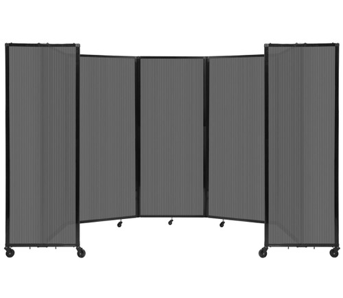 """Room Divider 360 Folding Portable Partition 14' x 6'10"""" Dark Gray Fluted Polycarbonate"""
