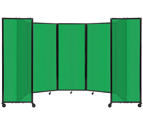 """Room Divider 360 Folding Portable Partition 14' x 6'10"""" Green Fluted Polycarbonate"""