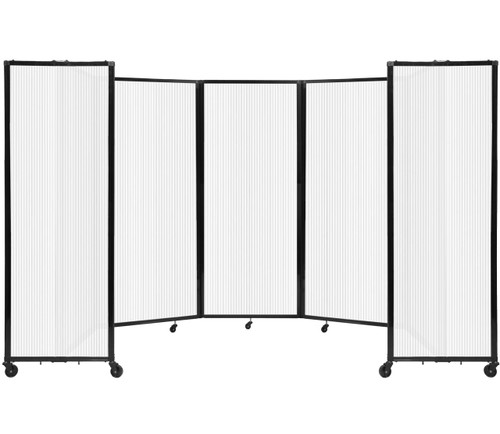 """Room Divider 360 Folding Portable Partition 14' x 6'10"""" Opal Fluted Polycarbonate"""