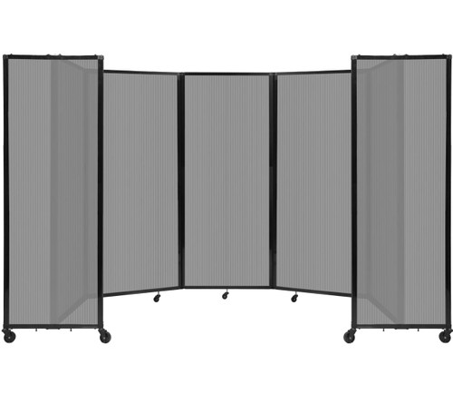 """Room Divider 360 Folding Portable Partition 14' x 6'10"""" Light Gray Fluted Polycarbonate"""