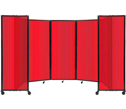 """Room Divider 360 Folding Portable Partition 14' x 6'10"""" Red Fluted Polycarbonate"""