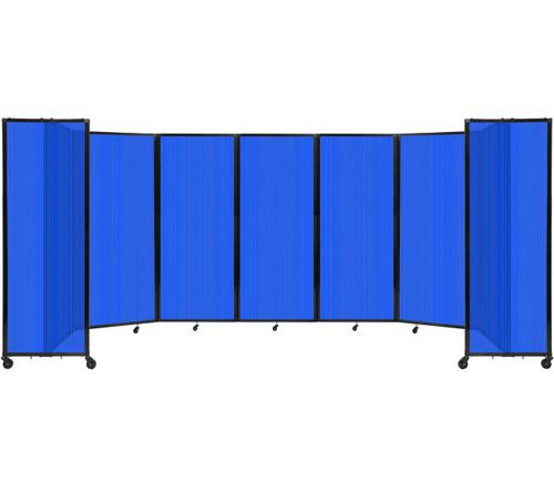 "Room Divider 360 Folding Portable Partition 19'6"" x 6'10"" Blue Fluted Polycarbonate"