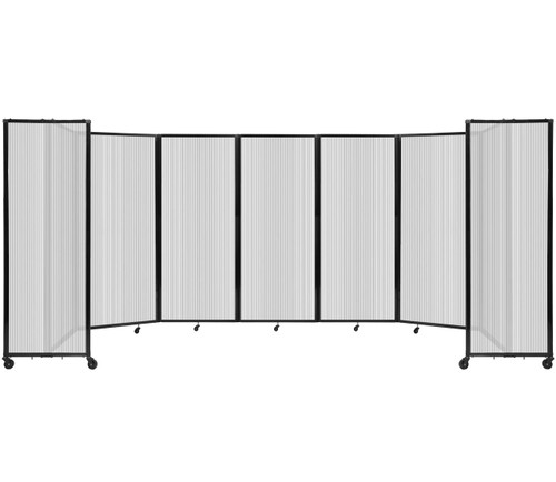 """Room Divider 360 Folding Portable Partition 19'6"""" x 6'10"""" Clear Fluted Polycarbonate"""