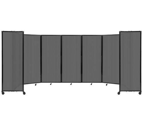 """Room Divider 360 Folding Portable Partition 19'6"""" x 6'10"""" Dark Gray Fluted Polycarbonate"""