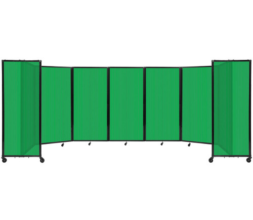 """Room Divider 360 Folding Portable Partition 19'6"""" x 6'10"""" Green Fluted Polycarbonate"""