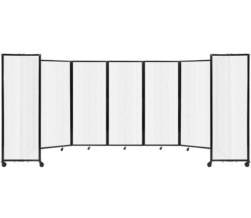 """Room Divider 360 Folding Portable Partition 19'6"""" x 6'10"""" Opal Fluted Polycarbonate"""
