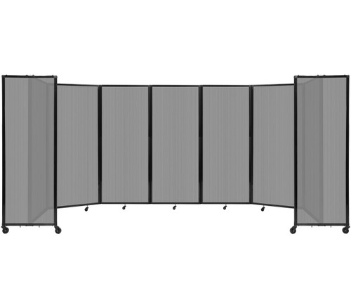 """Room Divider 360 Folding Portable Partition 19'6"""" x 6'10"""" Light Gray Fluted Polycarbonate"""