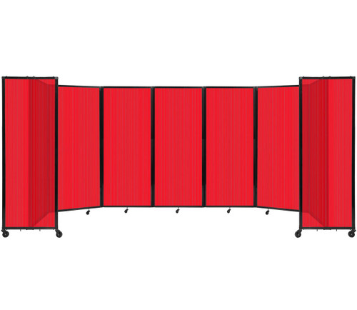 """Room Divider 360 Folding Portable Partition 19'6"""" x 6'10"""" Red Fluted Polycarbonate"""