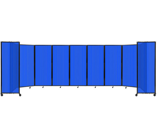 "Room Divider 360 Folding Portable Partition 25' x 6'10"" Blue Fluted Polycarbonate"