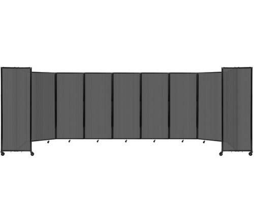 """Room Divider 360 Folding Portable Partition 25' x 6'10"""" Dark Gray Fluted Polycarbonate"""
