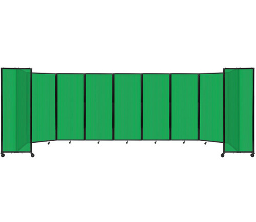 """Room Divider 360 Folding Portable Partition 25' x 6'10"""" Green Fluted Polycarbonate"""