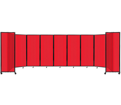"""Room Divider 360 Folding Portable Partition 25' x 6'10"""" Red Fluted Polycarbonate"""