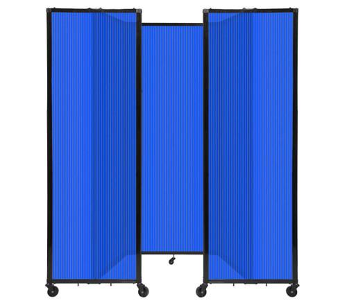 "Room Divider 360 Folding Portable Partition 8'6"" x 7'6"" Blue Fluted Polycarbonate"