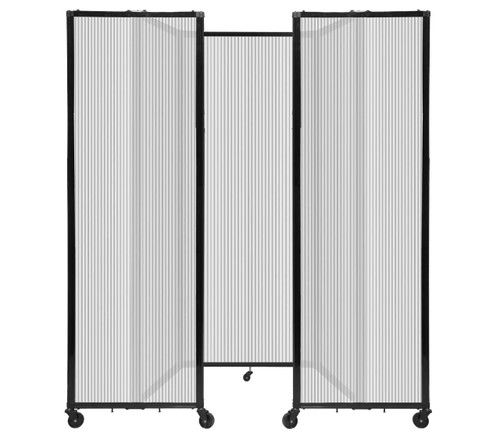 """Room Divider 360 Folding Portable Partition 8'6"""" x 7'6"""" Clear Fluted Polycarbonate"""